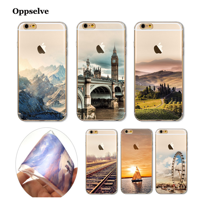 Oppselve пейзажей чехол для iPhone 8 7 6 6s плюс горная стройка море лодка назад чехол для iPhone 8 плюс Чехол откидной