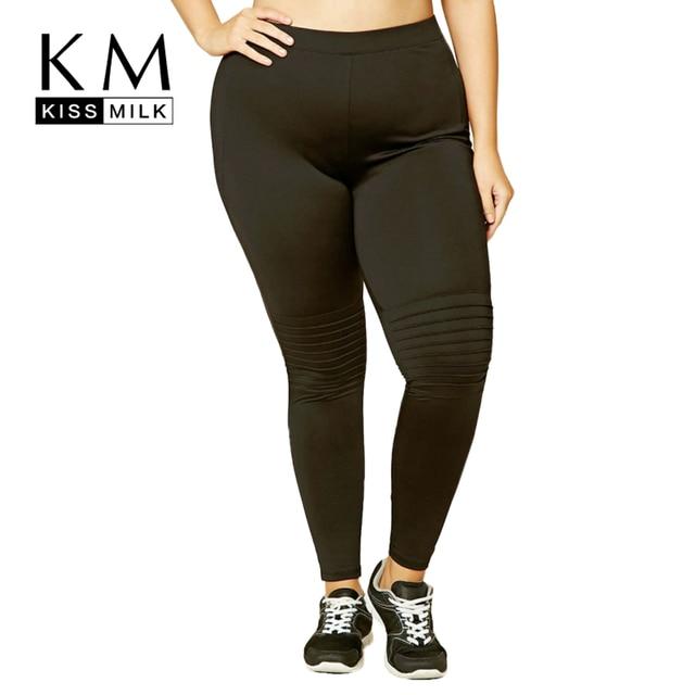 Kissmilk Plus Size New Fashion Women Clothing Casual Solid Bottom Slim Striped Trousers Big Size Leggings 3XL 4XL 5XL 6XL