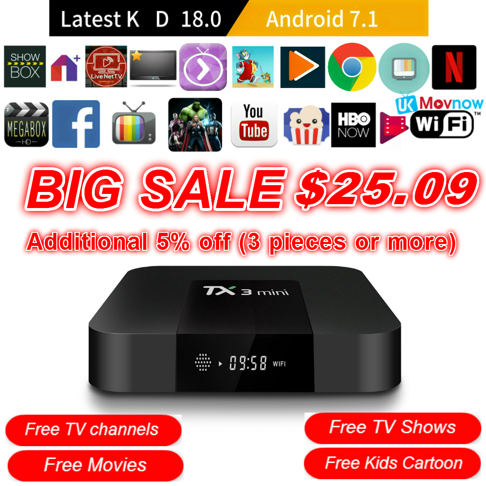 TTVBOX TX3 Mini Android TV BOX Android 7.1 OS 1 gb/8 gb 2 gb/16 gb Amlogic s905W Quad Core Smart TV Box 2.4g WiFi HDMI Media Player