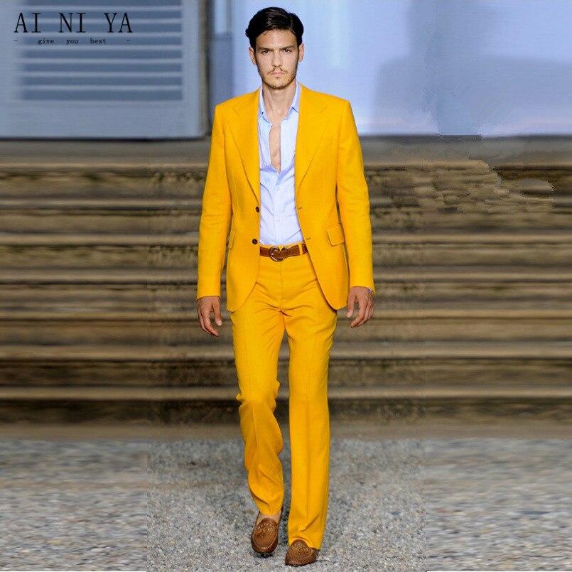 New Men Suits Suit Custom Made Groomsmen Notch Lapel Groom Tuxedos Yellow Men Suits Wedding Men