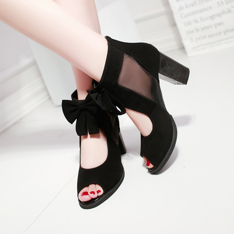 Image 5 - 2019 Summer New Fashion Cool Boots Hollow Bow Ladies Landals Back Zipper Fish Mouth Womens Shoes Sandalias De Verano Para MujerHigh Heels   -