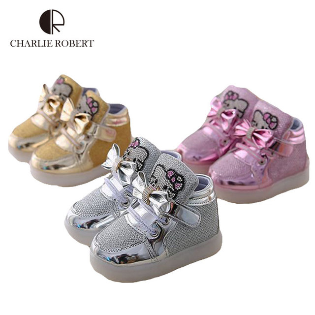 New Girls Shoes 1-6 Years Children Luminous Sneakers Kids Led Lighting Fashion Casual Shoes Girls Cartoon Spring Autumn Shoes