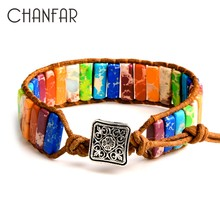Chanfar 7 Chakra Bracelet Bohemia Handmade Natural Stone Tube Beads Genuine Leather Wrap Bracelet Yoga Couples Bracelets(China)