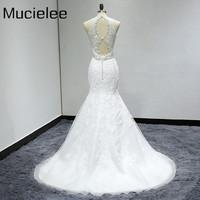 Sexy Open Back Mermaid Wedding Dresses 2017 Delicate Beaded Belt Deep V Neck Wedding Dress Lace
