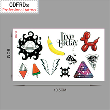 Rro Small Fresh Waterproof Temporary Tattoo Tatoo Henna Fake Flash Tattoo Stickers Taty Tatto Banana Ice Cream