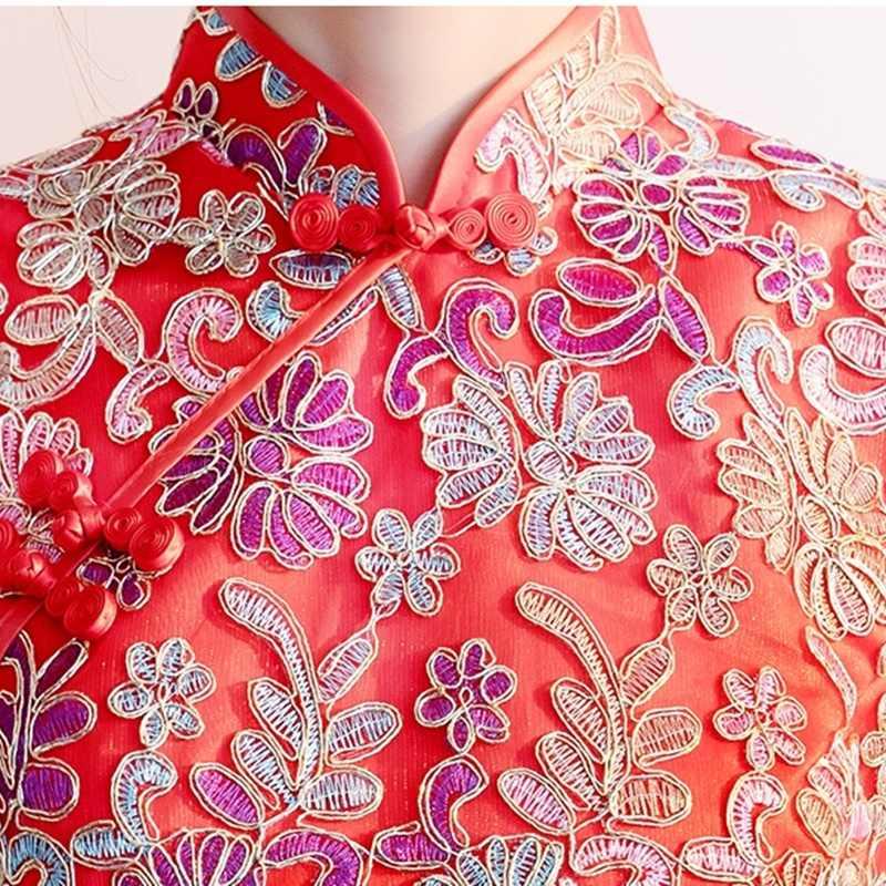Платье Чонсам с красной вышивкой, цветочный сарафан, короткий рукав, Qipao, платье миди, торжественное платье, женское элегантное китайское платье, AA4545