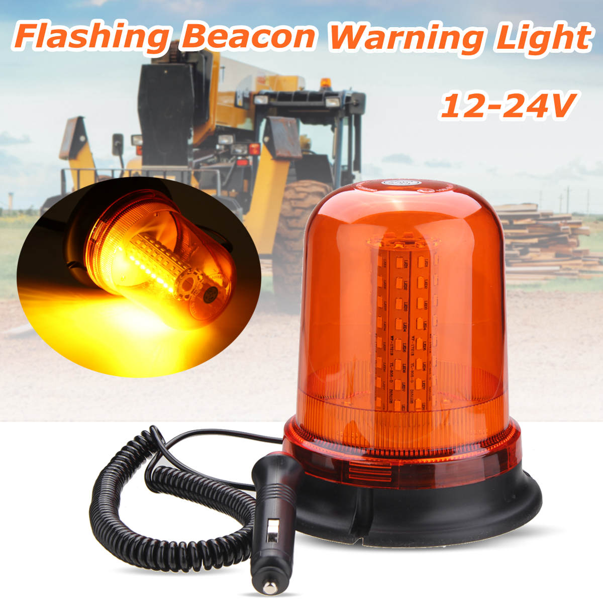80 LED Magnetic Mount Rotating Flashing Amber Dome Beacon Recovery Warning Strobe Light 8 led flashing yellow light caution warning lamp with magnetic mount holder