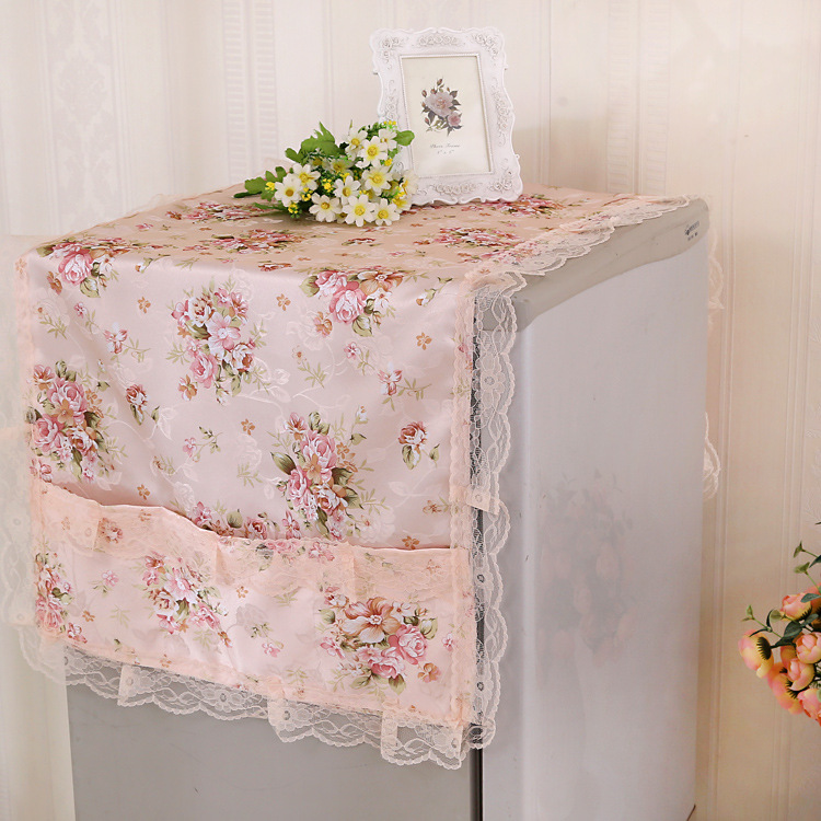 lace and more functional refrigerator cover / refrigerator towel thick version of the dust cover microwave oven towel star print refrigerator dust cover