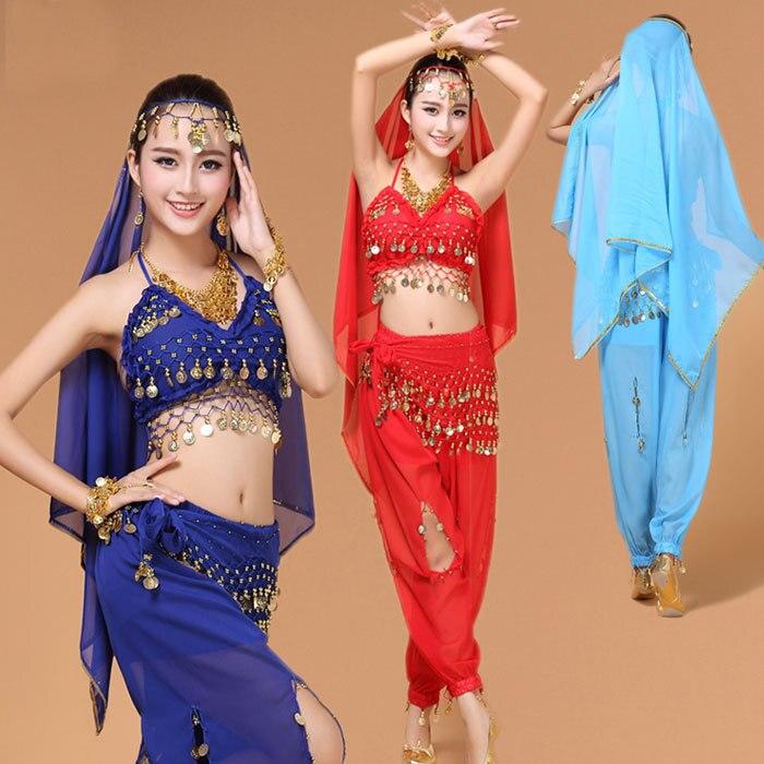 4st Ställ in vuxen magdansdräkt Bollywood Egypten kostym indisk klänning Prestanda magdans kvinnor mage dans kostym uppsättningar