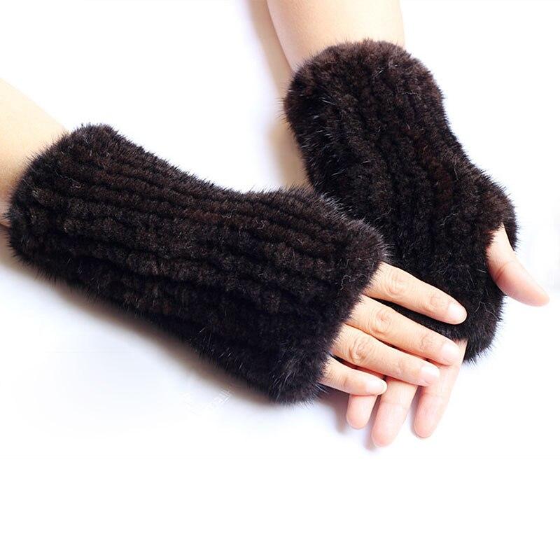 Hiver chaud solide élastique tricoté vison fourrure gants mode café Crag demi-doigt gant unisexe ordinateur vison gants fourrure mitaines