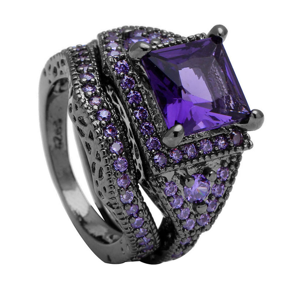 2018 black ring sets HOT black gun color zircon pink purple fashion lady finger rings new design jewelry for women wedding Rings