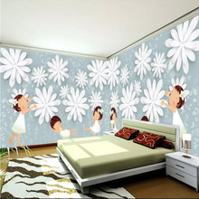 Creative wallpaper childrens room transparent flowers background wall professional custom mural photo