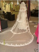 INS 2019 Popular Bridal Veil 4 Layers Lace Chapel Veil 3 Meter Long Cathedral Veil