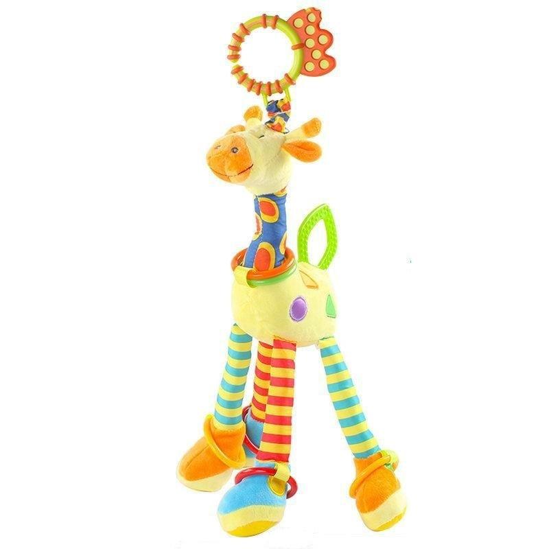 Happy Monkey Baby Development Soft Plush Rattle Animal Giraffe Handle Toy Baby Trolley Baby Crib Hanging Teether Toy KF986 mini baby elephant plush toy sounding musical rattle baby toy soft educational plush toy