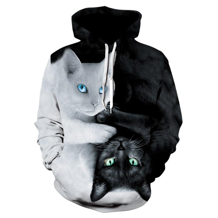 2018 3D Hoodies Men Hooded Sweatshirts two cat 3D Print hoody Casual Pullovers Streetwear Tops Autumn Regular Hipster hip hop