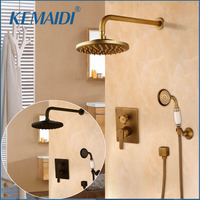 KEMAIDI Bathtub Faucets Shower Antique Black Wall Conceal Bathroom Faucets Shower Set Faucet Mixer Shower Set W/ Hand Spray
