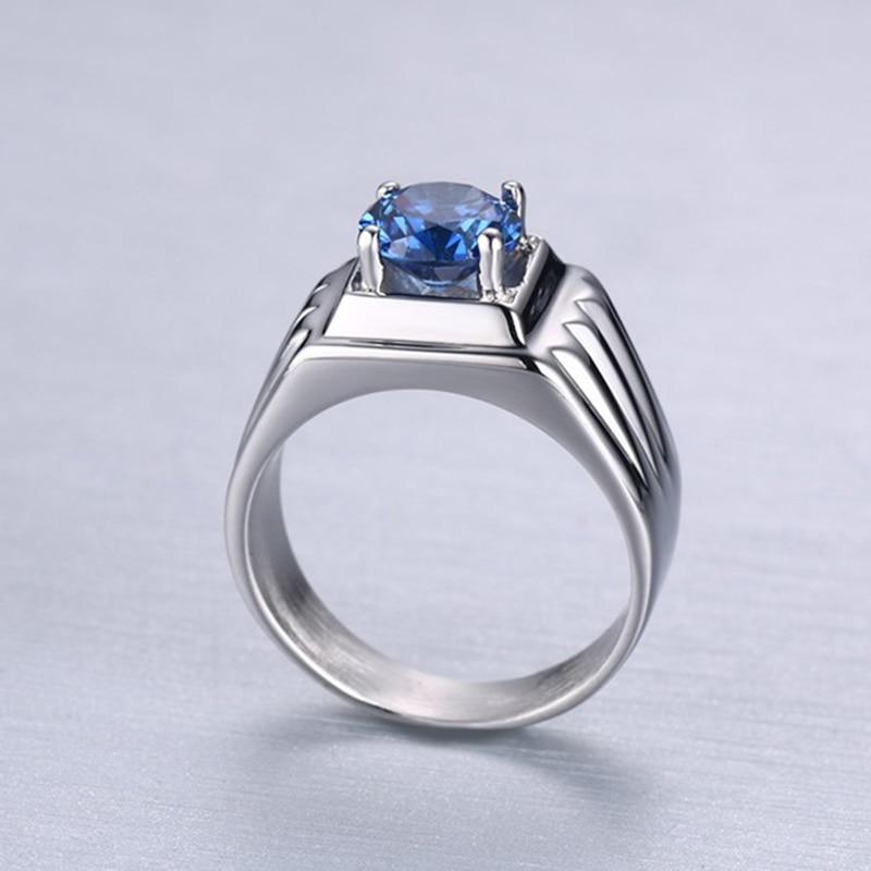 Kualitas perhiasan titanium cincin batu biru aaa + kubik cincin - Perhiasan fashion - Foto 5