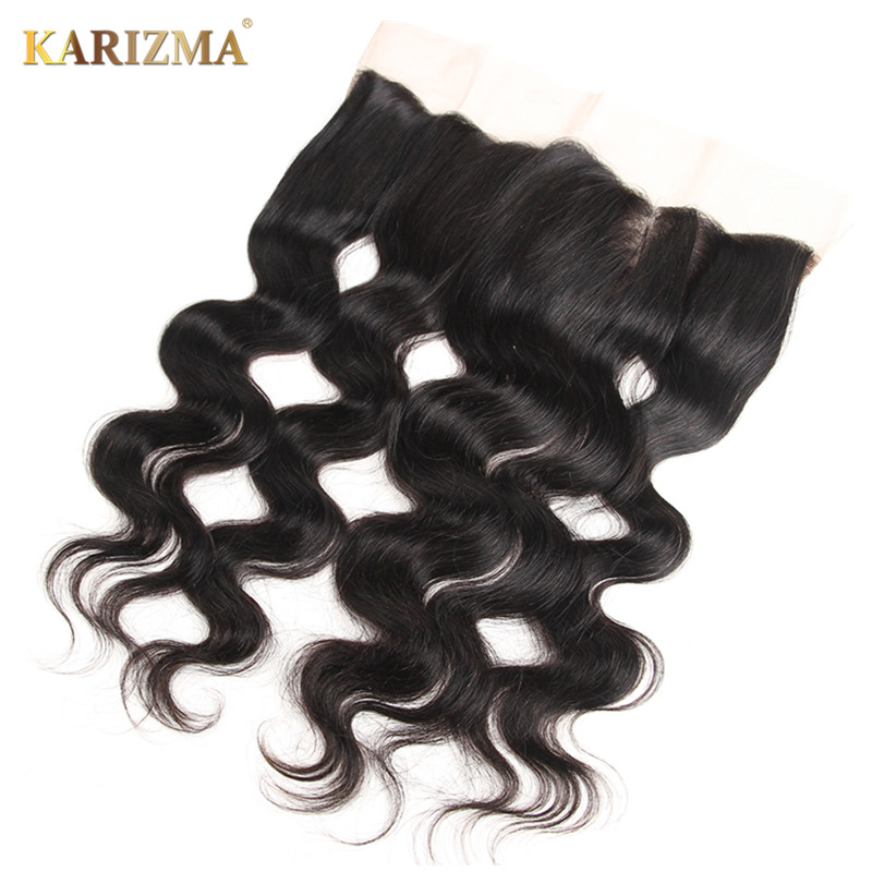Karizma Remy Hair Body Wave Lace Frontal 13″X4″ Free Part Closure 100% Human Hair Natural Color 10-18inch