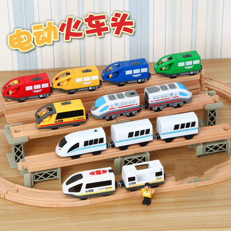 Kids Electric Train Toys Magnetic Slot Diecast Electric Railway with Two Carriages Train Wood Toy FIT T-homas wooden track BrioKids Electric Train Toys Magnetic Slot Diecast Electric Railway with Two Carriages Train Wood Toy FIT T-homas wooden track Brio