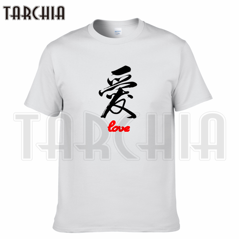 TARCHIA 2018 new brand t-shirt Chinese calligraphy love cotton tops tees men short sleeve boy casual homme tshirt t plus fashion