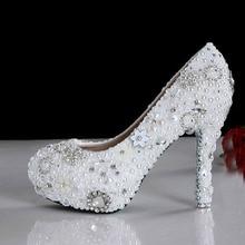 Feier Party Pumps Handmade Weiß Hochzeit Kleid Schuhe Brautschuhe Wunderschöne High Ferse Schuhe Perle Strass Schuhe