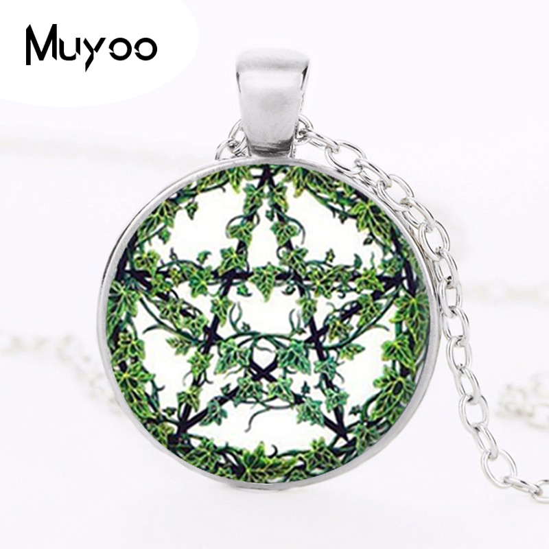 Vintage Cabochon Glass Necklace Silver Charm pendants(Tree of life)#372