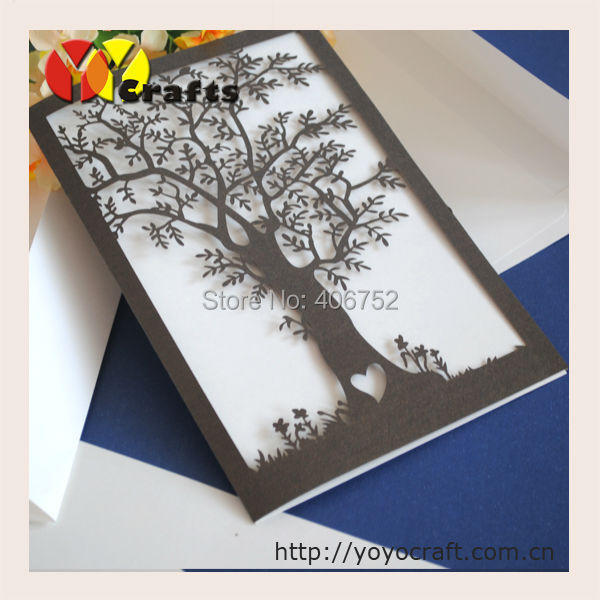 50pcs Delicate Hot Tree Shape Laser Cut Wedding Invitation Card Folded Invitations For In Cards From Home Garden On