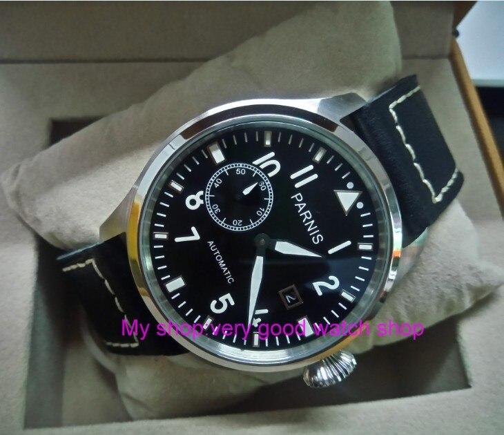 47 мм Big Pilot Парнис черный циферблат Самовзводные механизм автоматического Дата мужские часы световой механические часы df72a