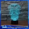 3D Vision LED Placa De Acrílico 7 Colores Calavera de Cristal Dormitorio Lámpara de Escritorio Regalo de La Decoración Luz de La Noche