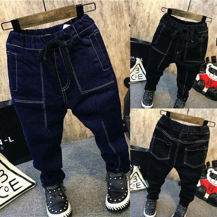 2019 Frühling Herbst Kinder Kinder Jungen Casual Fashion Solid Farbe Tasche Denim Casual Jeans Hosen Hosen C2393 100% Garantie