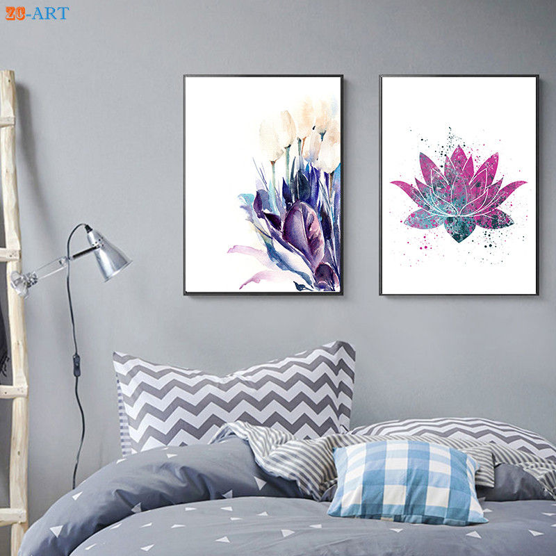 White Tulips And Purple Leaves Prints Flowers Modern