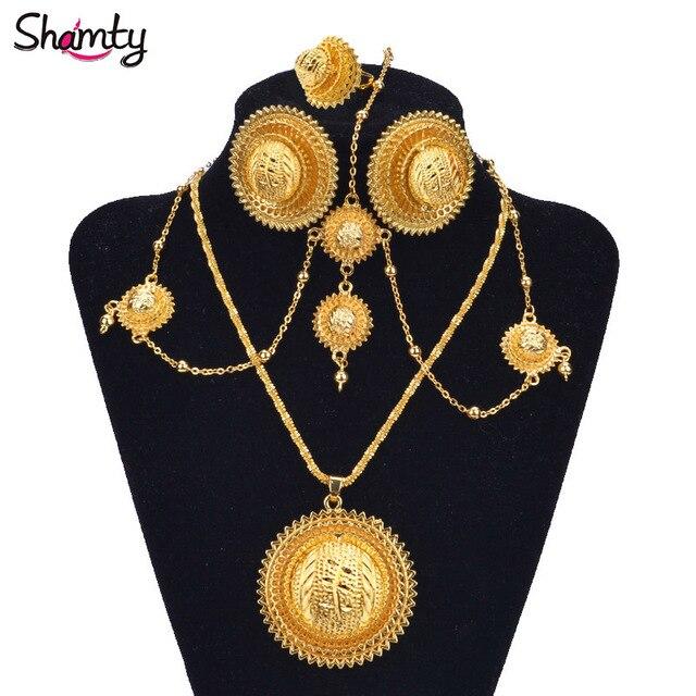 NEW Ethiopian bridal jewelry Set 24Kgold plated African gold set/Sudan/Nigeria/Eritrea/Kenya/Wedding Set Habasha style A30034