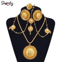 Shamty, африканские золотые комплекты, ювелирные изделия для невесты в стиле хабаши, Свадебный комплект из чистого золота, Нигерия, Эритрея, ке...
