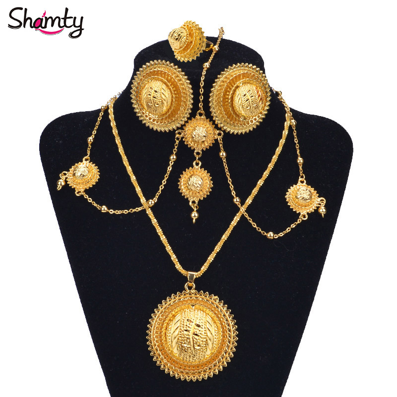 Shamty African Gold Sets Ethiopische bruids sieraden Habasha Style Wedding Pure Gold Color Set Nigeria Eritrea Kenia Hot A30034