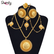 Shamty African Gold Sets Ethiopian Bridal Jewelry Habasha Style Wedding Pure Gold Color Set Nigeria Eritrea