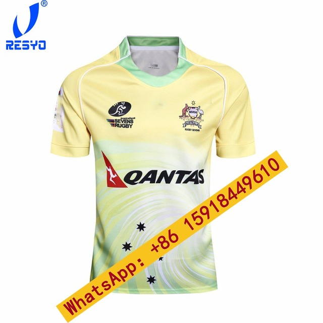 Resyo 2017 Australia Rubgy Sevens Home Away Men Rubgy Jerseys Top