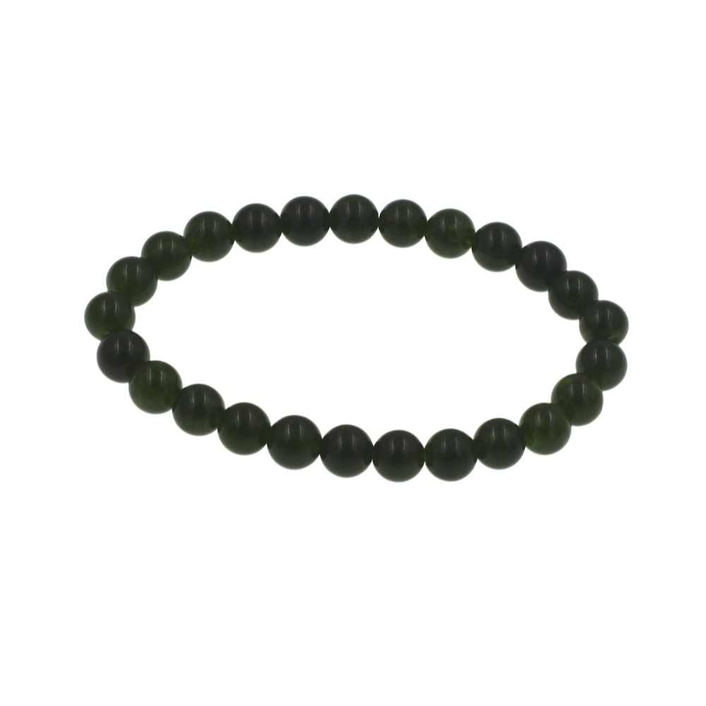 "Handmade อัญมณีกึ่ง jadee 8 มิลลิเมตรรอบ dark สีเขียว jades สร้อยข้อมือลูกปัดยืด 7 ""Unisex"