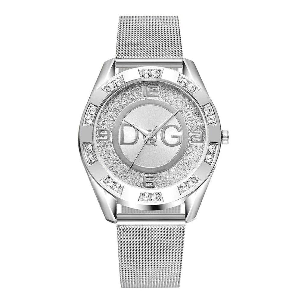 Роскошные часы для женщин Бренды DQG для женщин Кристалл серебро Нержавеющая сталь кварцевые часы Леди Открытый спортивные часы горячая Распродажа Montres