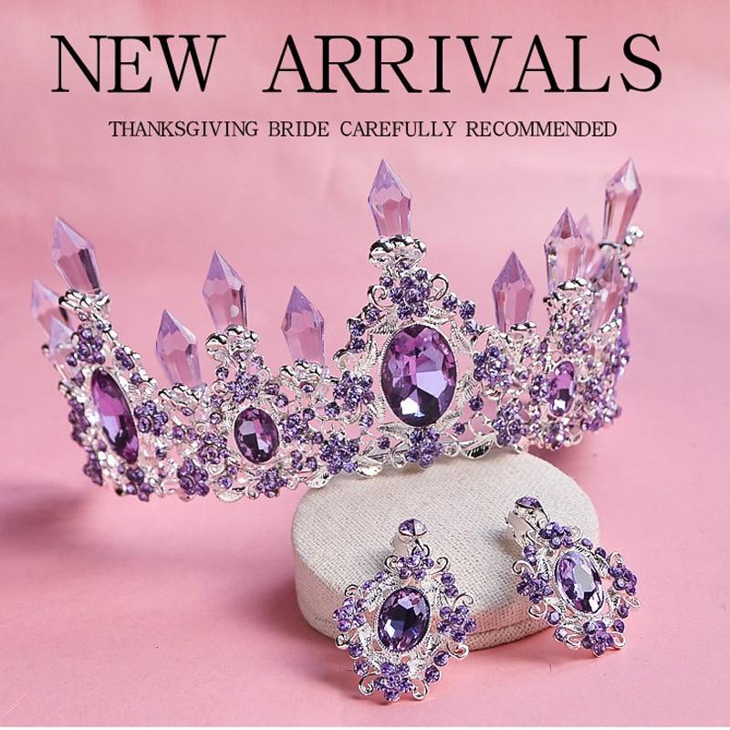 2018 New Arrival Charming Purple Crystal Bridal Tiara Crowns Magnificent Rhinestone Diadem for Princess Wedding Hair Accessories недорго, оригинальная цена