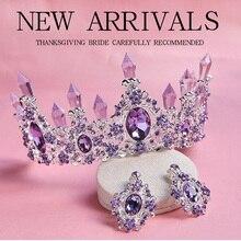 2018 nueva llegada encantadora Tiara nupcial de cristal púrpura corona magnífica diadema de diamantes de imitación para la princesa accesorios para el cabello de la boda
