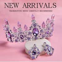 2020 chegada nova charming roxo cristal tiara nupcial coroas magnífico strass diadema para acessórios de cabelo casamento princesa
