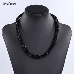 INKDEW Multicolor Red Beads Handmade Threading Faceted Crystal Short Necklace for Lady/Women Gift Choker Statement
