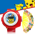 Cheap projection watch Rotary exchange projection LED Digital Watch Cartoon Pikachu Action Figures Kid Toys