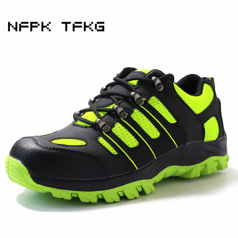 large size womens fashion steel toe caps working safety shoes puncture proof lace-up tooling security boots protection comfort