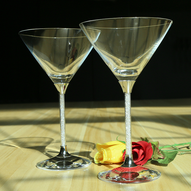 2 Pcs Set Crystal Drinking Cocktail Glasses Cups Hot Sale Lead Free Crystal Champagne Glass