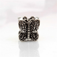 animal metal bead loose antique silver color butterfly big hole beads fit european bracelets bangles charms diy craft jewelry