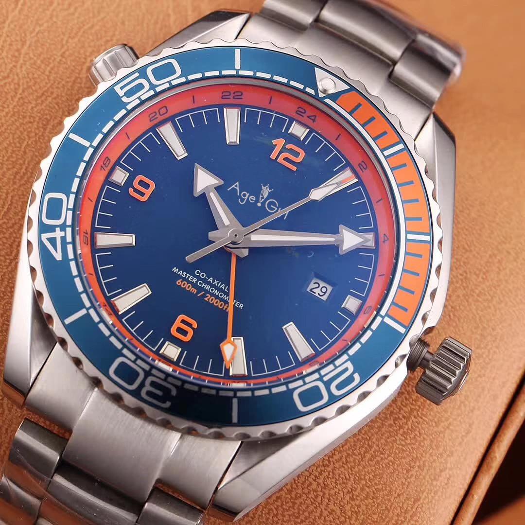 Homens de luxo Da Marca Mecânico Automático GMT Relógios Em Aço Inoxidável À Prova D' Água de Prata Azul Vermelho Laranja Preto Profissional AAA +