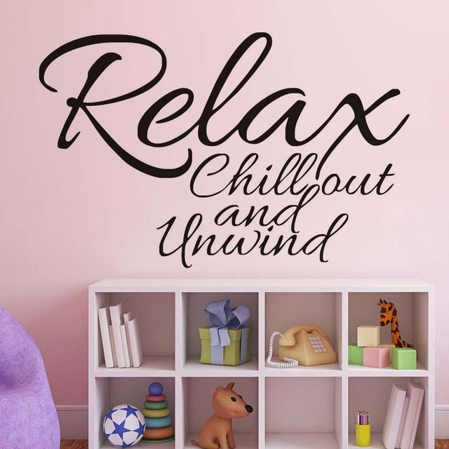 relax chill out and unwind quotes wall sticker pvc adesivo de parede removable vinyl wall decal
