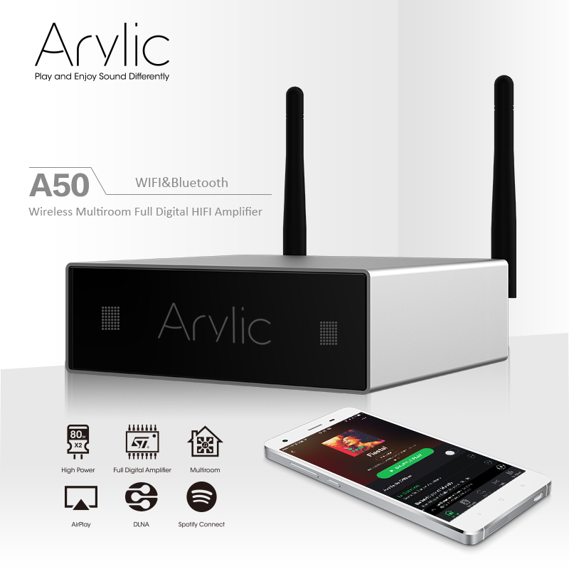 Gift Free Shipping WiFi&Bluetooth Audio Amplifier&Receiver Multi-room Sync Airplay DLNA 24bit 192 kHz Sample Rate 80Wx2 Channel