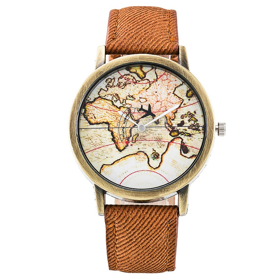 2019 New Fashion Global Travel By Plane Map Men Women Watches Casual Denim Quartz Watch Casual Sports Watches For Men Kol Saati
